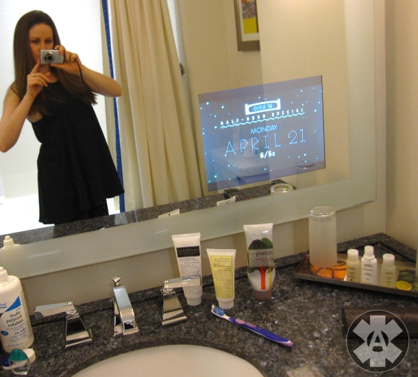 Can I just say how much I LOVED the tv in the bathroom?? SO cool! And surprisingly enjoyable. SIDENOTE: Check out those awesome products on the counter by VMV Hypoallergenics and 100% Pure!